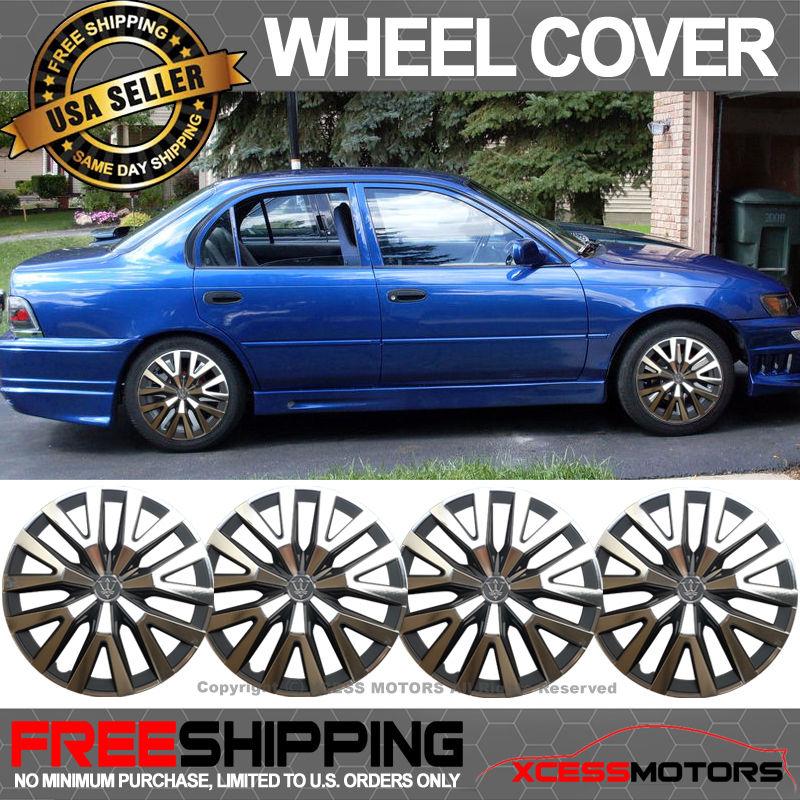 USパーツ ユニバーサル14インチハブキャップHubcapホイールカバータイヤスキンカバーブラッククロム4PCS Universal 14 Inch Hub Caps Hubcap Wheel Cover Tire Skin Covers Black Chrome 4PCS