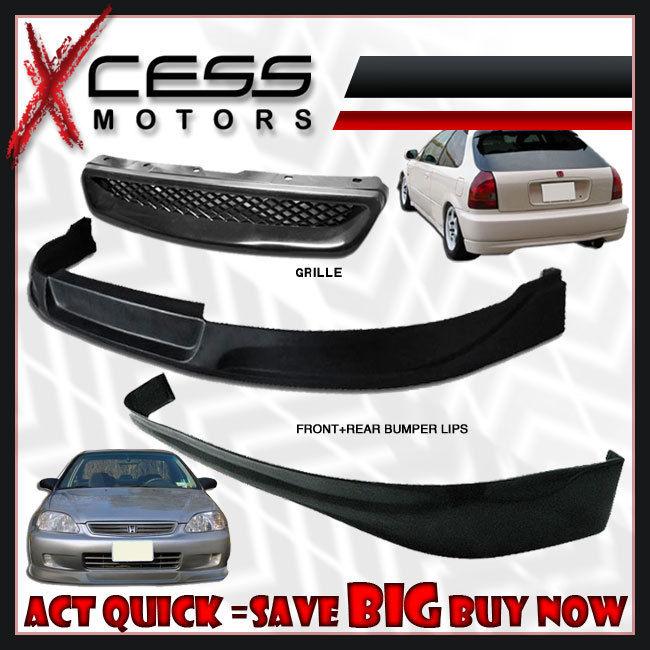 USパーツ Civic EK 3DタイプCフロント+リアバンパーリップ+フォグライトグリル+ヘッドライト Civic EK 3D Type C Front + Rear Bumper Lip + Fog Lights Grille + Headlights