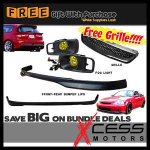 USパーツ 99-00ホンダシビックEK 3Drフロントリアバンパーリップ+フードグリル+フォグライトランプ 99-00 Honda Civic EK 3Dr Front Rear Bumper Lip + Hood Grille + Fog Lights Lamps