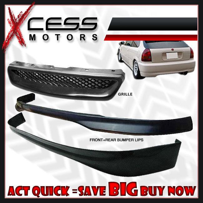 USパーツ ホンダシビックEK 3D JDMフロント+リアバンパーリップスポイラーフォグライトHID 6000Kコンボ Honda Civic EK 3D JDM Front + Rear Bumper Lip Spoiler Fog Lights HID 6000K Combo