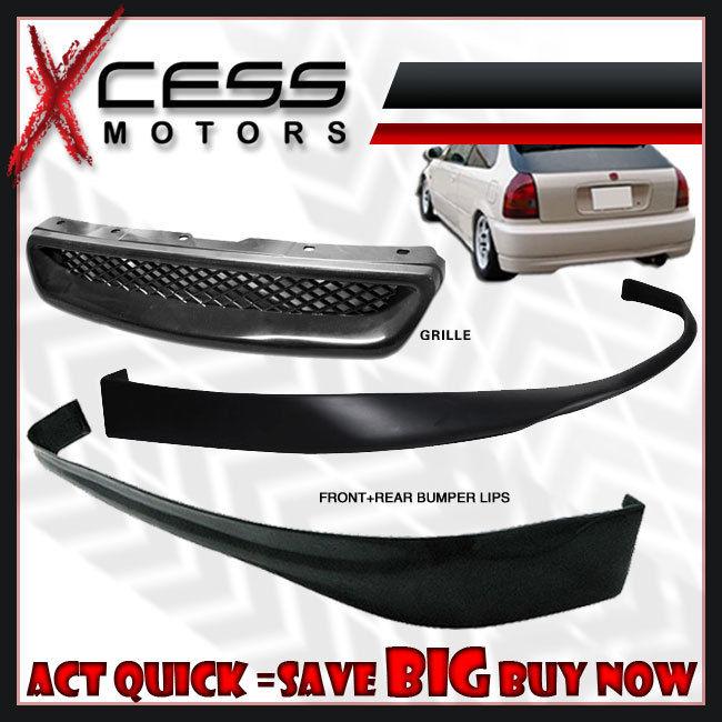 USパーツ ホンダシビックEK 3D JDM SIRフロント+リアバンパーリップスポイラー+フォグライト+グリル Honda Civic EK 3D JDM SIR Front + Rear Bumper Lip Spoiler + Fog Lights + Grill