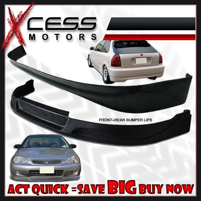 USパーツ Civic EK 3DタイプCフロント+リアバンパーリップスポイラー+フォグライトHID 6000Kグリル Civic EK 3D Type-C Front + Rear Bumper Lip Spoiler + Fog Lights HID 6000K Grille