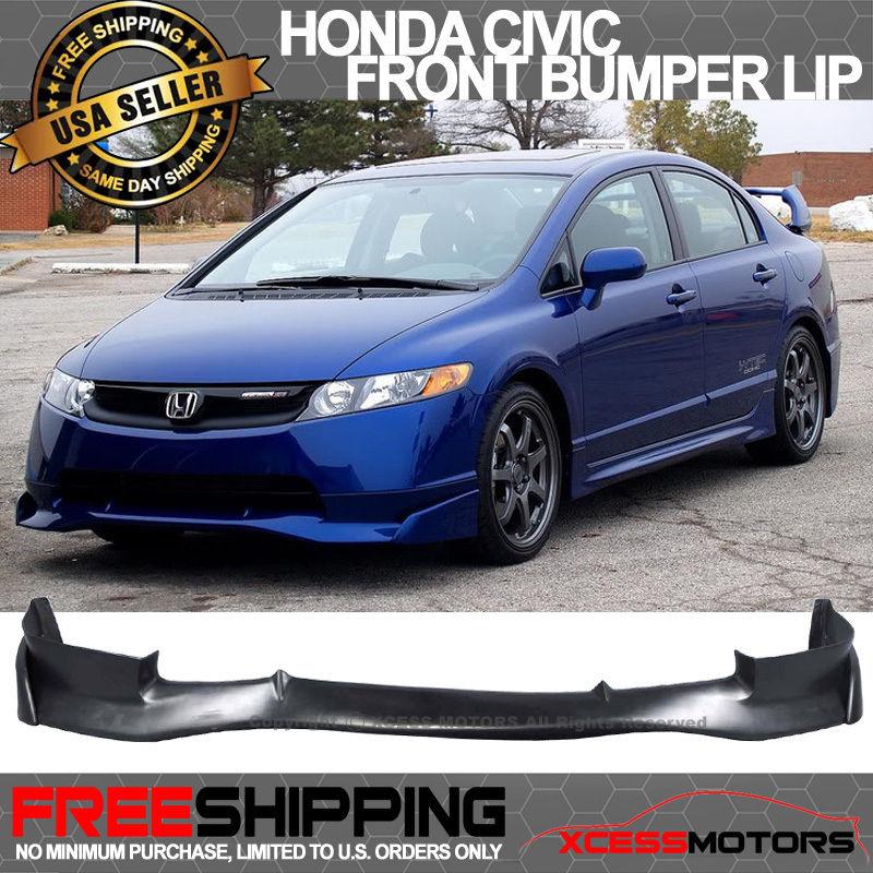 USパーツ 06-08ホンダシビック4DrセダンムゲンSiフロントバンパーリップスポイラーPUウレタン 06-08 Honda Civic 4Dr Sedan Mugen Si Front Bumper Lip Spoiler PU Urethane