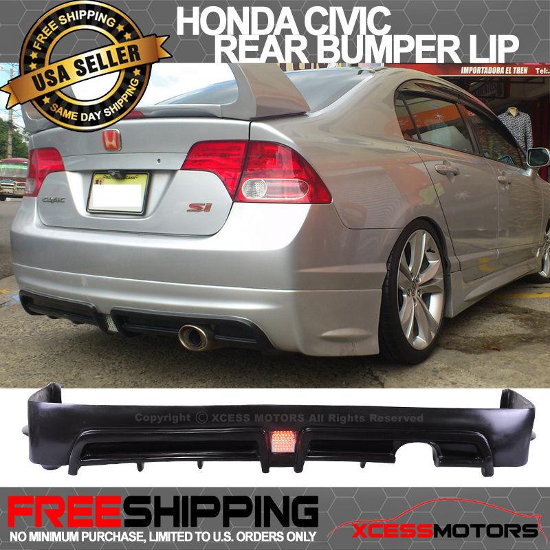 USパーツ 06-11ホンダシビックセダンムゲンRRウレタンリアバンパーリップスポイラーLEDブレーキライト 06-11 Honda Civic Sedan Mugen RR Urethane Rear Bumper Lip Spoiler LED Brake Lite