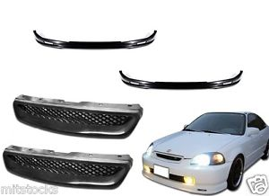 USパーツ 2 X 1999-2000 CIVIC 2 3 4 DOOR PU BLACKフロントバンパーリップ+メッシュグリル 2 X 1999-2000 CIVIC 2 3 4 DOOR PU BLACK ADD-ON FRONT BUMPER LIP + MESH GRILL
