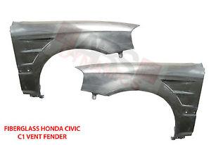 USパーツ 1996年1998年ホンダシビックC1ベントスタイルフェンダーセットガラス繊維無塗装 1996 1998 Honda Civic C1 Vent Style Fender Set Fiberglass Unpainted
