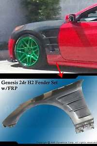 USパーツ 09-10 HYUNDAI GENESISのフィット感2DR H2スタイルFRPフェンダーセット(ブラックアンパイント) FIT FOR 09-10 HYUNDAI GENESIS 2DR H2 STYLE FRP FENDER SET (BLACK UNPAINT)