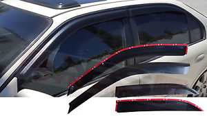 USパーツ New 1996 00ホンダシビック4DRプラスチックカーボンプリントスタイルウィンドウサン/ウィンドバイザーセット New 1996 00 Honda Civic 4DR Plastic Carbon Print Style Window Sun/Wind Visor Set