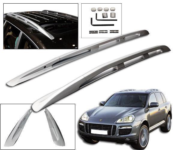 USパーツ 03-10ポルシェカイエントップルーフラックレールアルミシルバーOE FACTORYスタイル 03-10 Porsche Cayenne Top Roof Rack Rail Mount Aluminum Silver OE FACTORY Style