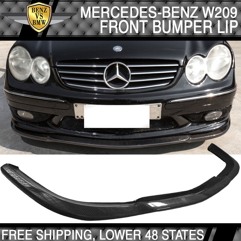 USパーツ 03-05メルセデスW209 C209 CLKクラスAMG CSスタイルフロントバンパーリップ - カーボンファイバー 03-05 Mercedes W209 C209 CLK-Class AMG CS Style Front Bumper Lip - Carbon Fiber