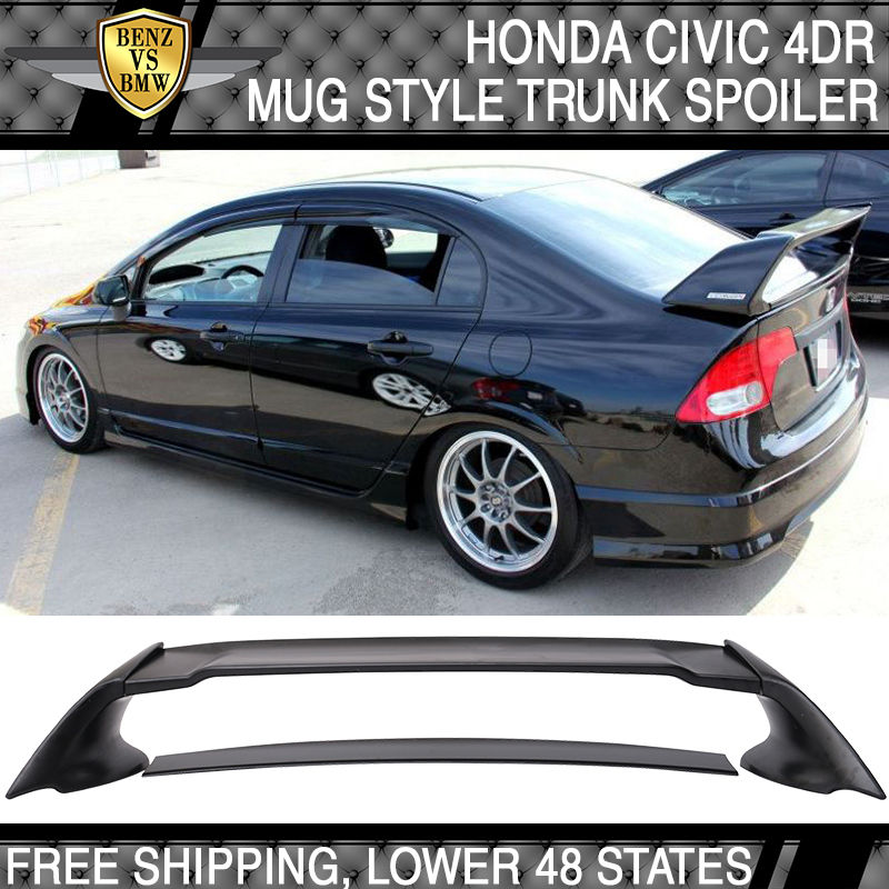 Mugen RR Style ABS Plastic Rear Trunk Wing Spoiler For 06-11 Honda Civic Sedan