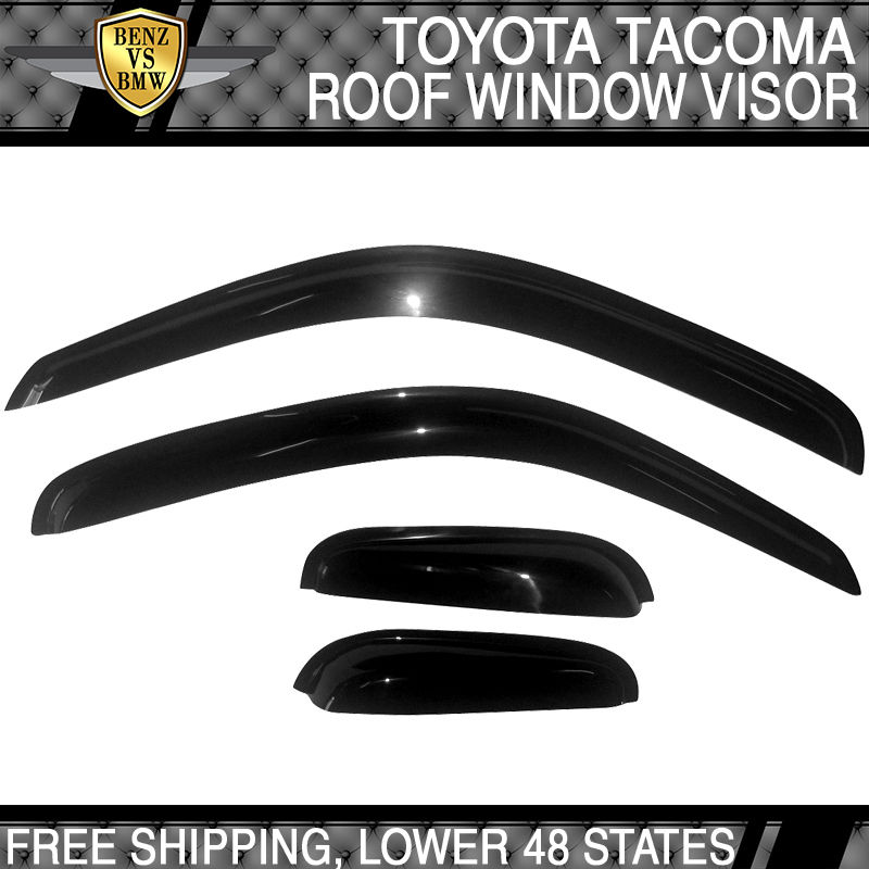 USパーツ 95-04トヨタタコマサンレインウィンドウバイザーレインガードベントスモークスリムスタイル4PCS 95-04 Toyota Tacoma Sun Rain Window Visor Rain Guard Vent Smoke Slim Style 4PCS