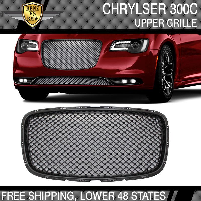 USパーツ 15-17 Chrysler 300 300Cベントレースタイルフロントアッパーグリルグリル - ブラック 15-17 Chrysler 300 300C Bentley Style Front Upper Grill Grille - Black