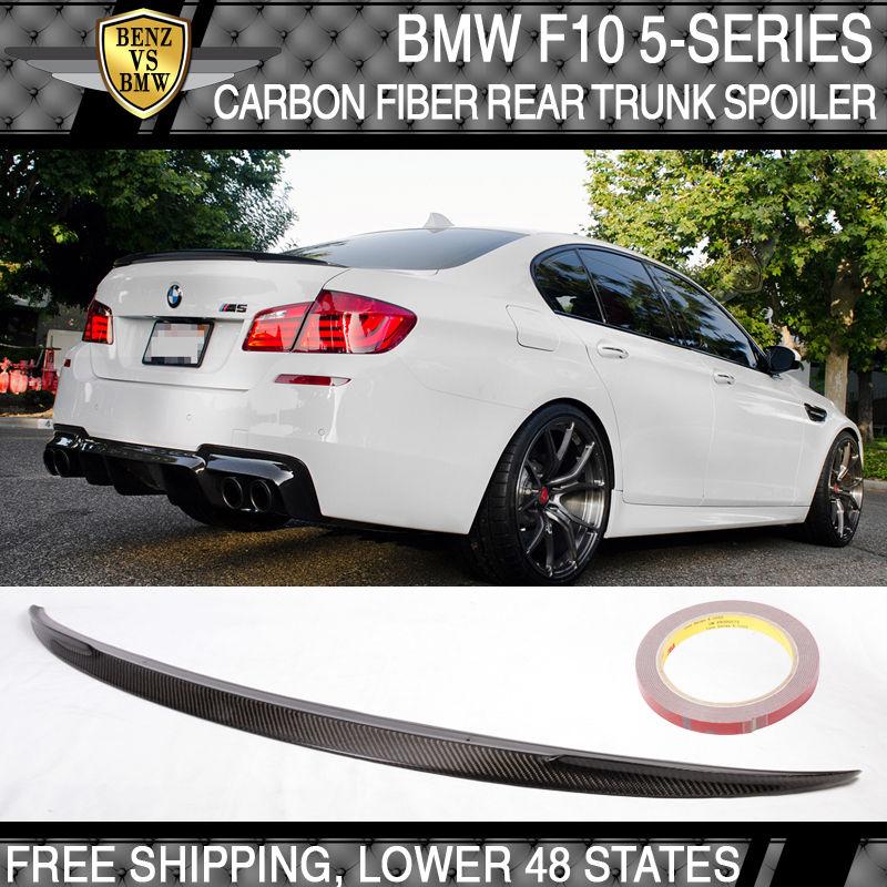 USパーツ 11-16 BMW F10 5シリーズ4Dセダンカーボンファイバーリアトランク・スポイラーウイングCFテール・リッド 11-16 BMW F10 5-Series 4D Sedan Carbon Fiber Rear Trunk Spoiler Wing CF Tail Lid
