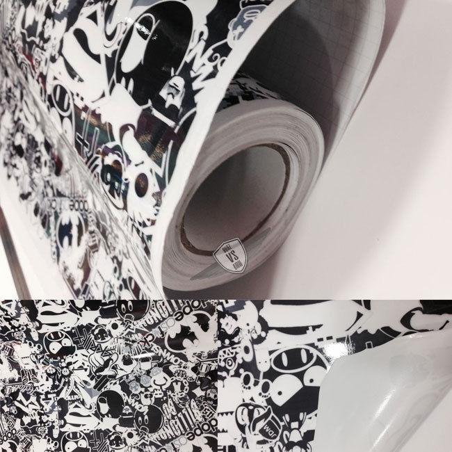 USパーツ ステッカー爆弾漫画ビニールステッカーラップデカJDMシートブラックホワイト60X59インチ Sticker Bomb Cartoon Vinyl Sticker Wrap Deca JDM Sheet Black White 60X59 Inch