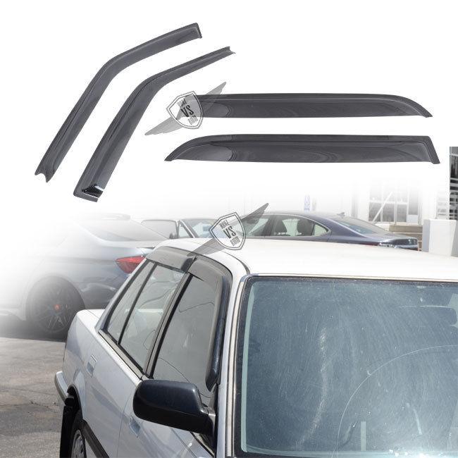USパーツ 88-91ホンダシビックセダンDX LXサンレインウィンドウバイザーダークスモークスリムスタイル4PC 88-91 Honda Civic Sedan DX LX Sun Rain Window Visor Dark Smoke Slim Style 4PC