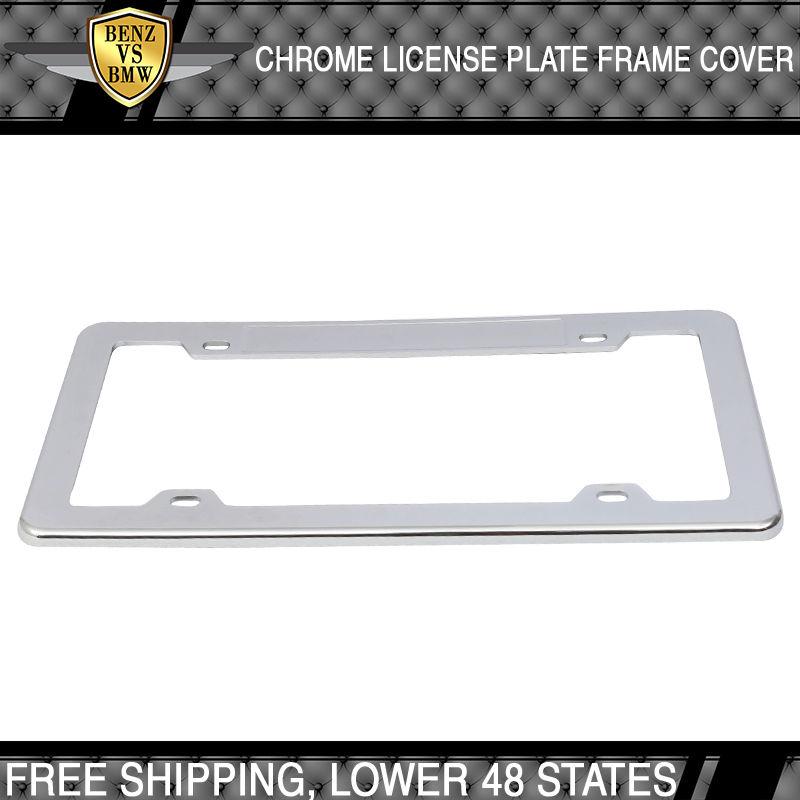 USパーツ ユニバーサルフロントリアクロムプラスチックブランクライセンスプレートフレーム Universal Front Rear Chrome Plastic Blank License Plate Frame