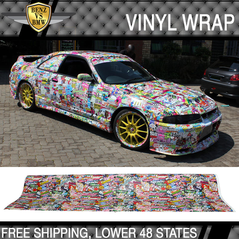 USパーツ 日産用フィット30x59インチステッカー爆弾漫画車ビニールラップカスタムHellaフラッシュ Fit For Nissan 30x59 Inch Sticker Bomb Cartoon Car Vinyl Wrap Custom Hella Flush