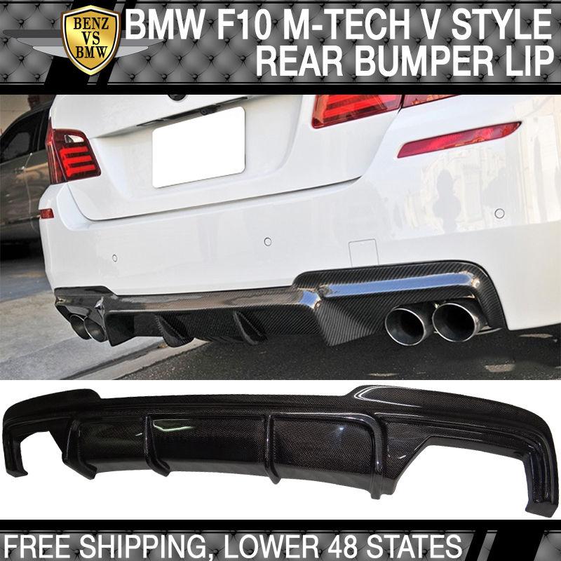 USパーツ 11-16 BMW F10 M-Tech& M-Sport VスタイルリアバンパーリップディフューザーカーボンファイバーCF 11-16 BMW F10 M-Tech & M-Sport V Style Rear Bumper Lip Diffuser Carbon Fiber CF