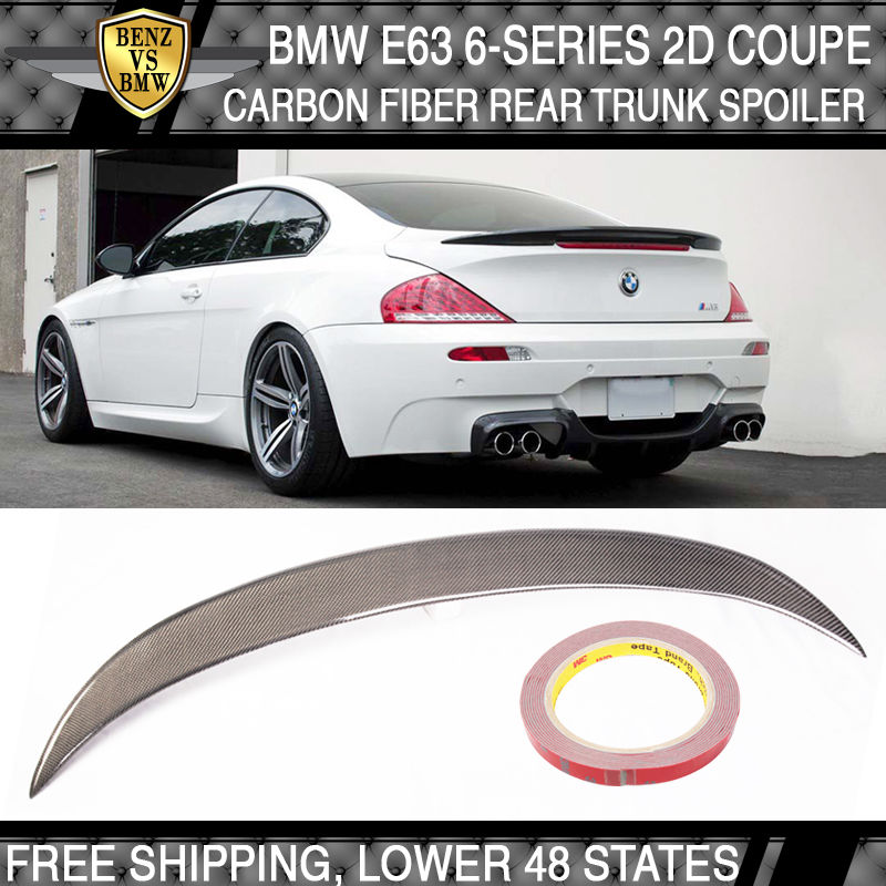 USパーツ カーボンファイバーリアトランクスポイラーウィングVスタイルM6 04-08 E63 BMW 6シリーズ2Dクーペ Carbon Fiber Rear Trunk Spoiler Wing V Style M6 04-08 E63 BMW 6-Series 2D Coupe