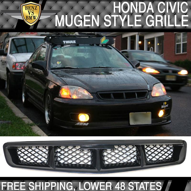 USパーツ 1999-2000フロントホンダシビックJDMムゲンタイプグリルブラックフードグリル - ABS 1999-2000 Front Honda Civic JDM Mugen Type Grille Black Hood Grill - ABS