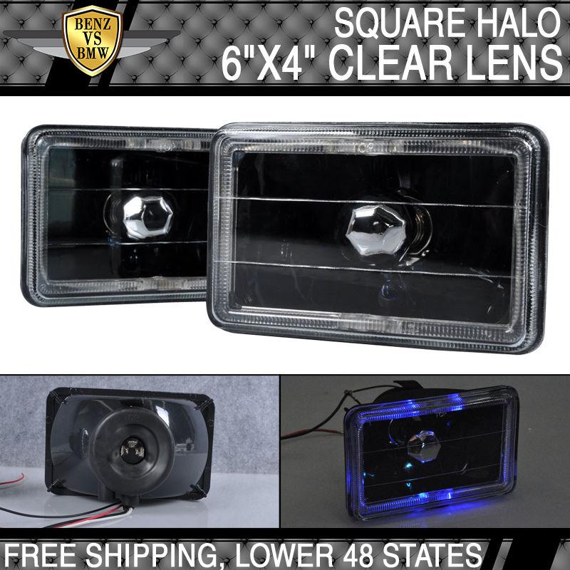 USパーツ 4インチX 6インチフォードブラックスクエアクリアレンズ付きヘイローヘッドライトH4バルブ 4 Inch X 6 Inch Ford Black Square With Clear Lens Halo Headlights H4 Bulbs