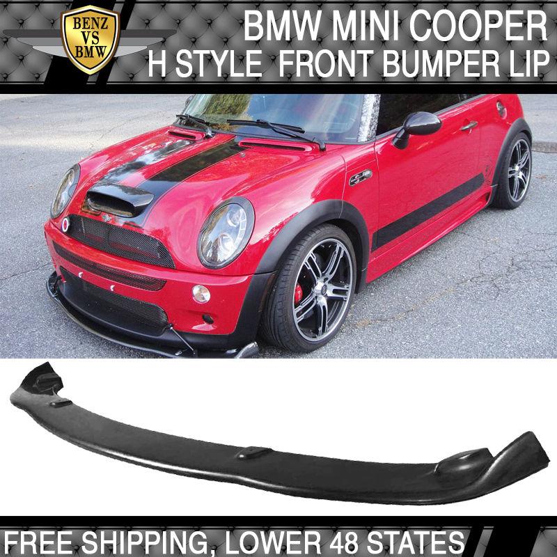 USパーツ 02-06ミニクーパーSウレタンタイプHフロントバンパーリップスポイラーボディキットブラック 02-06 Mini Cooper S Urethane Type H Front Bumper Lip Spoiler Bodykit Black