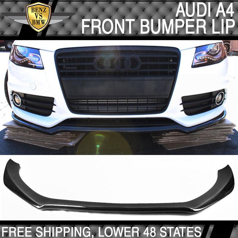 USパーツ 13-15 Audi A4スタンダードバンパーPスタイルフロントバンパーリップ - カーボンファイバーCF 13-15 Audi A4 Standard Bumper Only P Style Front Bumper Lip - Carbon Fiber CF
