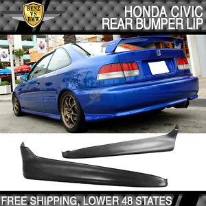USパーツ フィット99-00ホンダシビックリアバンパーリップスプリッター未塗装2PC-PUポリウレタン Fits 99-00 Honda Civic Rear Bumper Lip Splitters Unpainted 2PC- PU Polyurethane