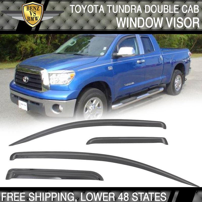 USパーツ フィット07-13トヨタツンドラダブルキャブスモークレインサンウィンドウバイザー通気4PC Fit 07-13 Toyota Tundra Double Cab Smoke Rain Sun Window Visor Vent 4PC
