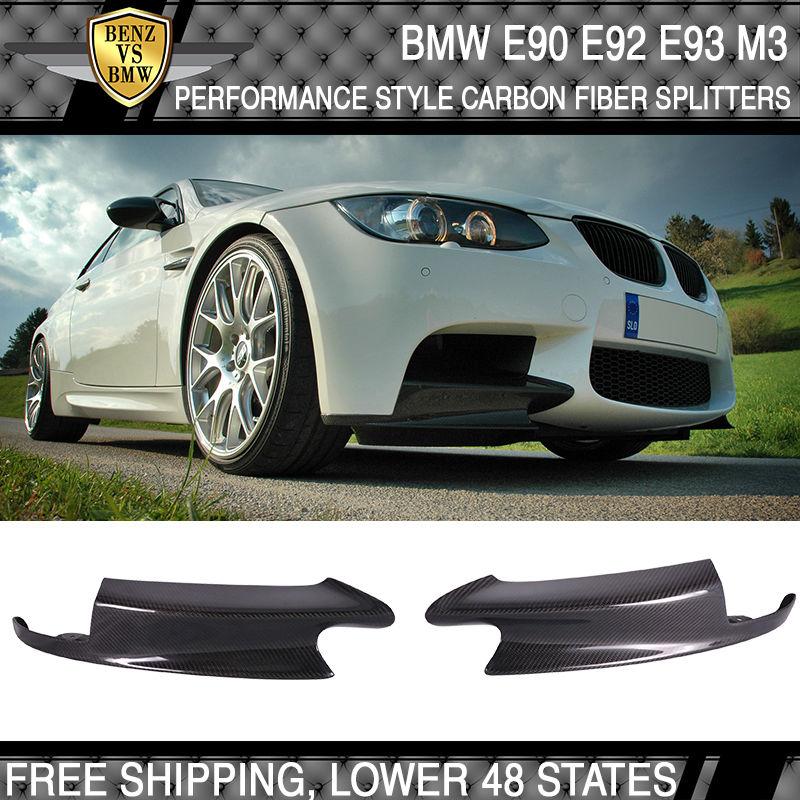 USパーツ 08-13 BMW E90 E92 E93 M3パフォーマンススタイルフロントスプリッタ - 炭素繊維(CF) 08-13 BMW E90 E92 E93 M3 Performance Style Front Splitters - Carbon Fiber (CF)