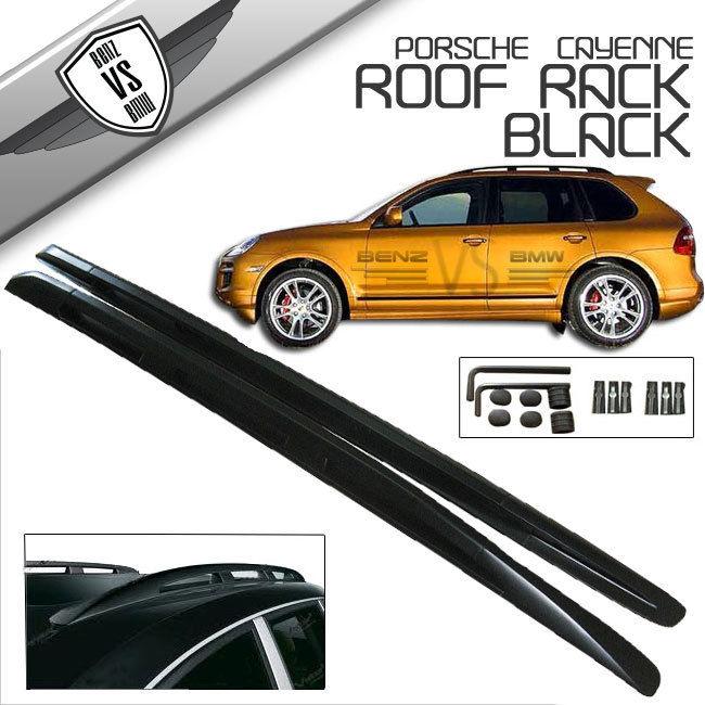 USパーツ 03-10ポルシェカイエンOEルーフラックレールマウントアルミブラック 03-10 Porsche Cayenne OE Roof Rack Rail Mount Aluminum Black