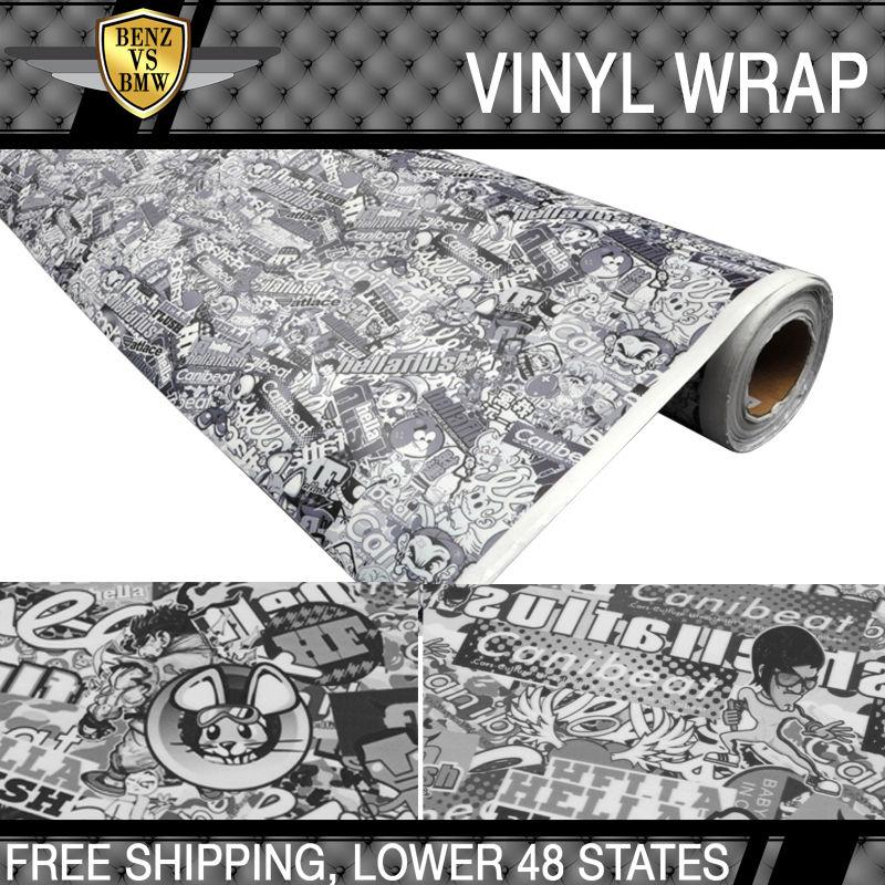 USパーツ 日産用フィット30 X 59インチステッカー爆弾漫画車ビニールラップブラックホワイトJDM Fit For Nissan 30 X 59 Inch Sticker Bomb Cartoon Car Vinyl Wrap Black White JDM