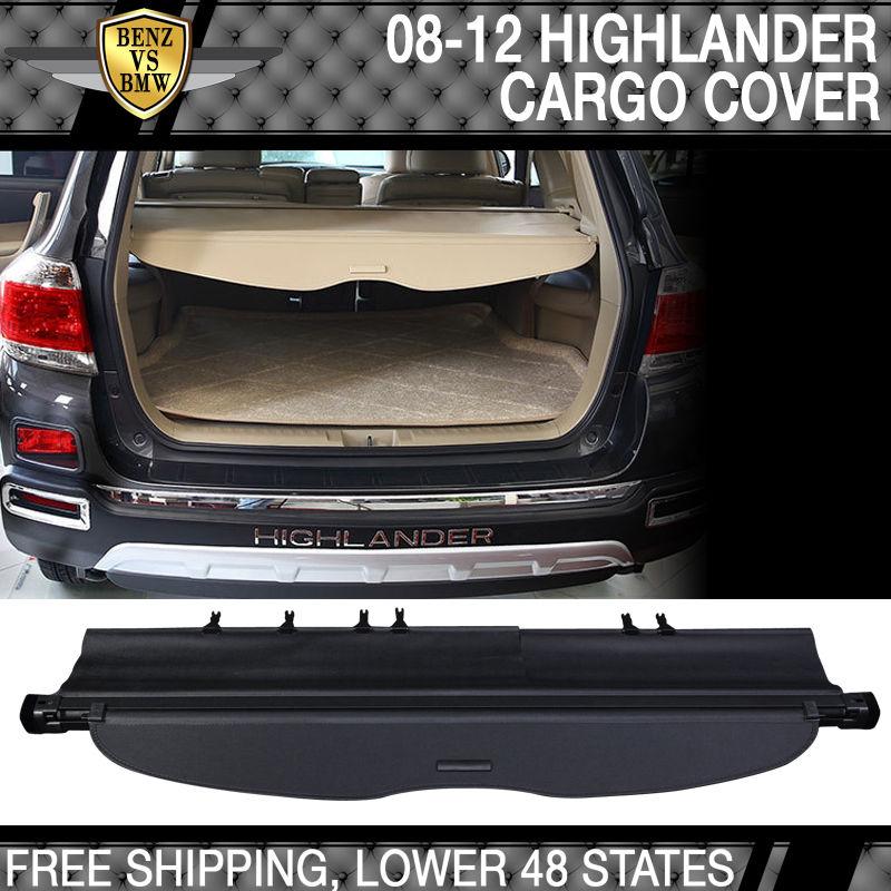 USパーツ 08-12ハイランダーOE FACTORYリトラクタブルリアカーゴセキュリティトランクカバーブラック 08-12 Highlander OE FACTORY Retractable Rear Cargo Security Trunk Cover Black