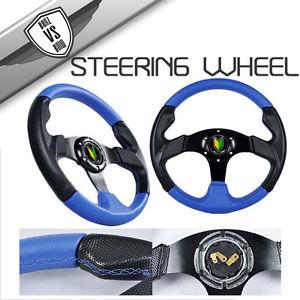 USパーツ ドッジ& フォルクスワーゲンステアリングホイールタイプ2 320mmブラックブルー、ホーン付き Dodge & Volkswagen Steering Wheel Type 2 320mm Black Blue WithHorn