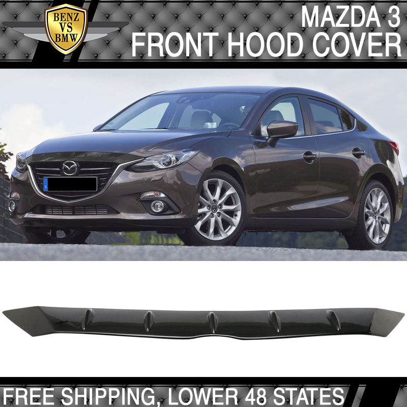 USパーツ 14-16マツダ3 3D 4Dボルテックスフィンスタイルマットブラック表面ABSフロントフードカバー 14-16 Mazda 3 3D 4D Vortex Fin Style Matte Black Surface ABS Front Hood Cover