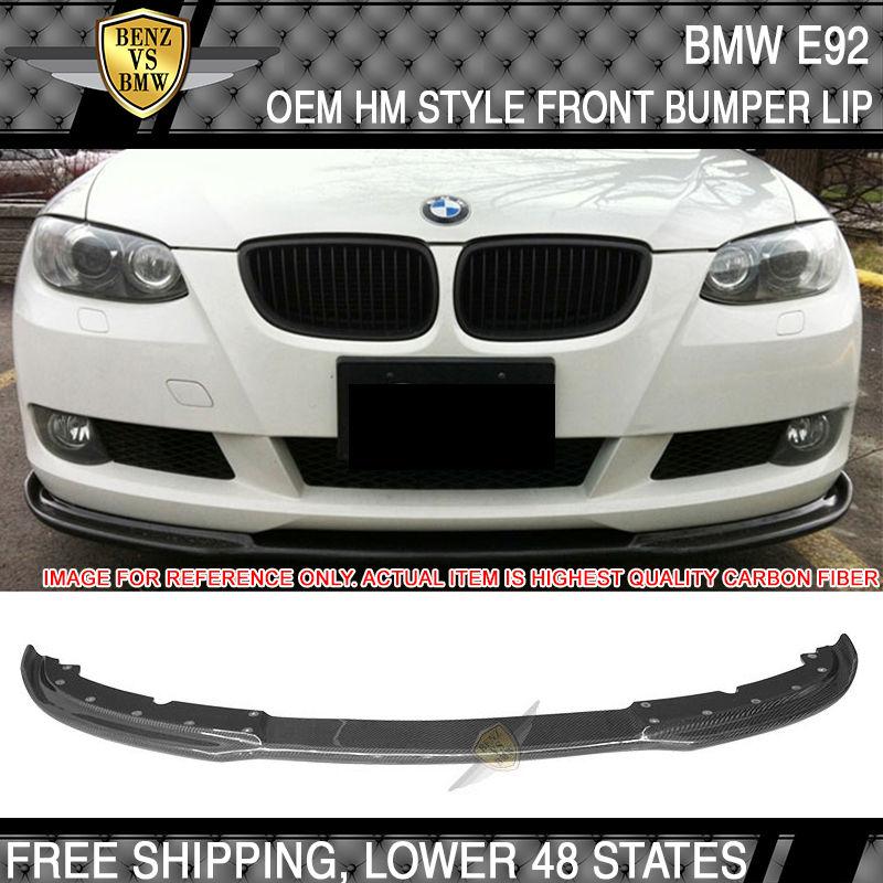 USパーツ 07-10 BMW E92 3シリーズクーペのみHMスタイルフロントバンパーリップ - カーボンファイバーCF 07-10 BMW E92 3 Series Coupe Only HM Style Front Bumper Lip - Carbon Fiber CF