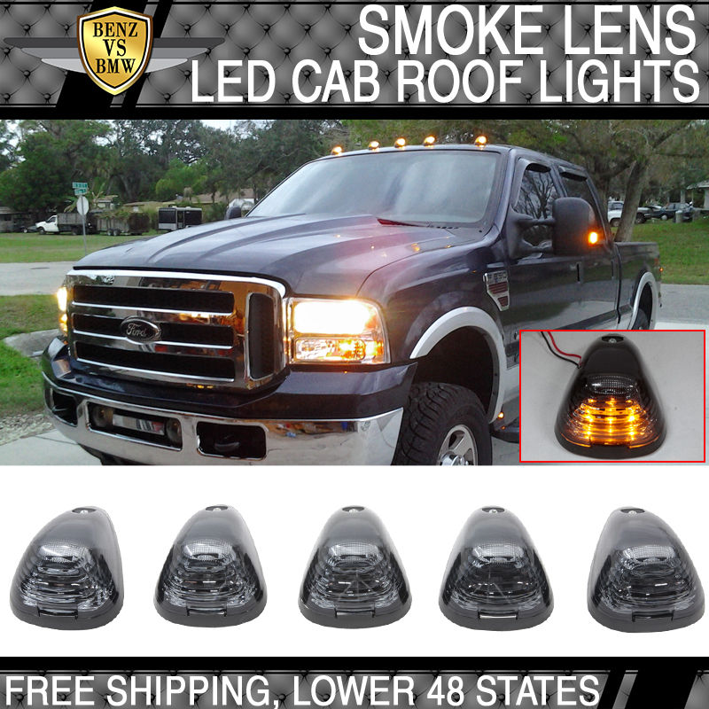 USパーツ フォードダッジトラックトライアングル煙レンズトップLEDキャブマーカー屋根照明ランニング5PCS Ford Dodge Truck Triangle Smoke Lens Top LED Cab Marker Roof Lights Running 5PCS