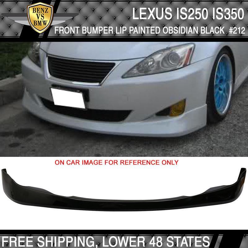 USパーツ 06-08レクサスIS250 IS350 Vフロントバンパーリップスポイラーペイントオブシディアンブラック#212 06-08 Lexus IS250 IS350 V Front Bumper Lip Spoiler Painted Obsidian Black #212