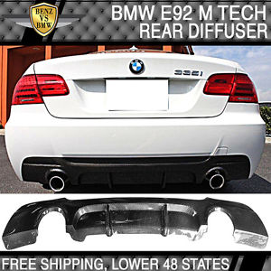 USパーツ 07-13 BMW E92 E93 M-Tech MスポーツPスタイルリアバンパーリップディフューザー - カーボンファイバー 07-13 BMW E92 E93 M-Tech M Sport P Style Rear Bumper Lip Diffuser - Carbon Fiber