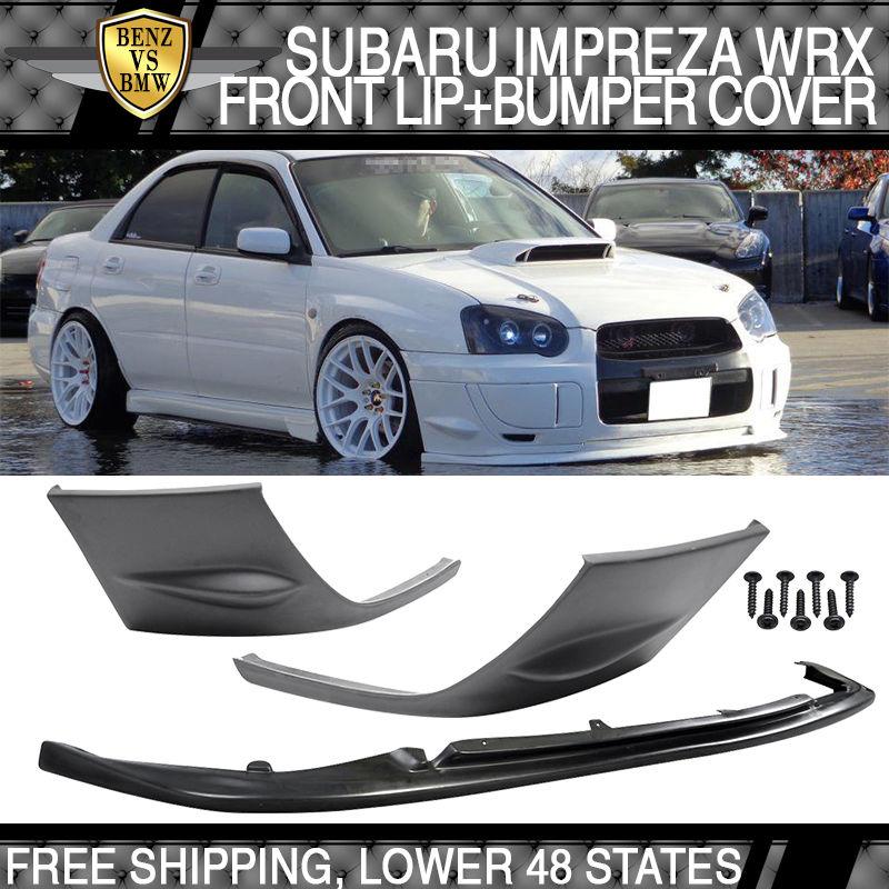 USパーツ フィット04 05スバルインプレッサWRX STIフロントバンパーリップ+ 2PCSサイドカバーPU Fit For 04 05 Subaru Impreza WRX STI Front Bumper Lip + 2PCS Side Cover PU