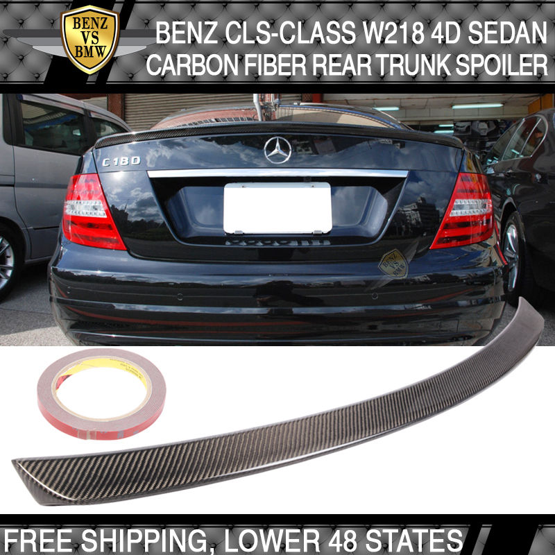 USパーツ 11-17ベンツCLSクラスW218 4Dセダンカーボンファイバーリアトランクスポイラーウイングテールリッド 11-17 Benz CLS-Class W218 4D Sedan Carbon Fiber Rear Trunk Spoiler Wing Tail Lid