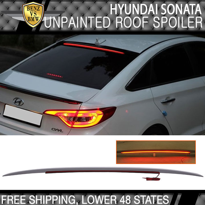 USパーツ 15-17ソナタ用LF OEスタイル無塗装ルーフスポイラーLED面発光 - ABS For 15-17 Sonata LF OE Style Unpainted Roof Spoiler LED Surface Emitting - ABS