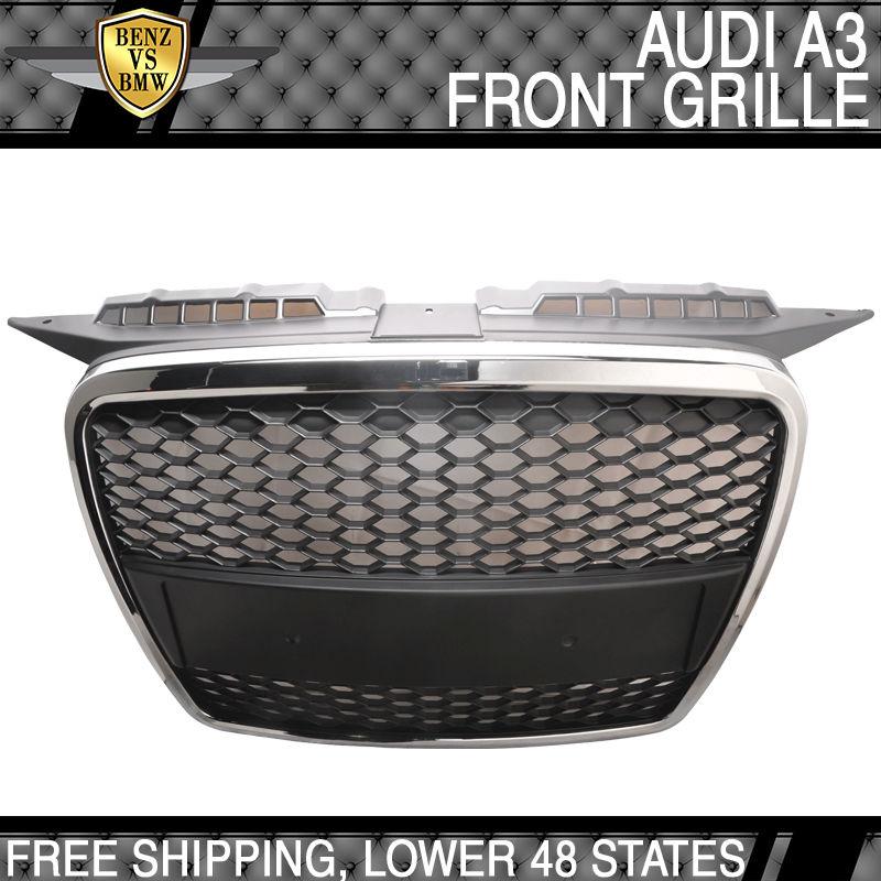 USパーツ 06-08アウディA3 ABSフロントメッシュフードグリルクロムトリム 06-08 Audi A3 ABS Front Mesh Hood Grille Chrome Trim