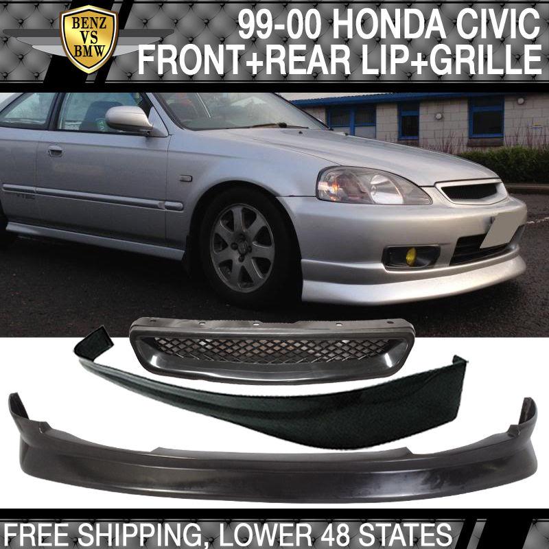 USパーツ 99-00ホンダシビック3ドアPUフロントリップ+ウレタンリヤリップ+ ABSフードグリル 99-00 Honda Civic 3 Door PU Front Lip + Urethane Rear Lip + ABS Hood Grill