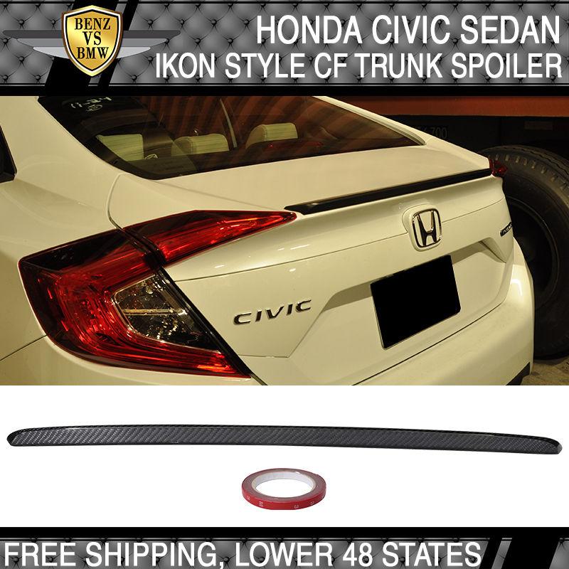 USパーツ 16-17ホンダシビックX 4DrセダンOE工場スタイルカーボンファイバーCFトランク・スポイラー 16-17 Honda Civic X 4Dr Sedan OE Factory Style Carbon Fiber CF Trunk Spoiler