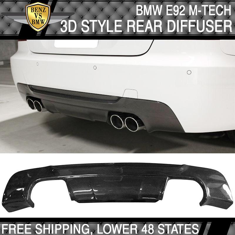 USパーツ 07-13 BMW E92 3シリーズM-Tech Mスポーツ3Dスタイルリアディフューザ - カーボンファイバーCF 07-13 BMW E92 3 Series M-Tech M Sport 3D Style Rear Diffuser - Carbon Fiber CF