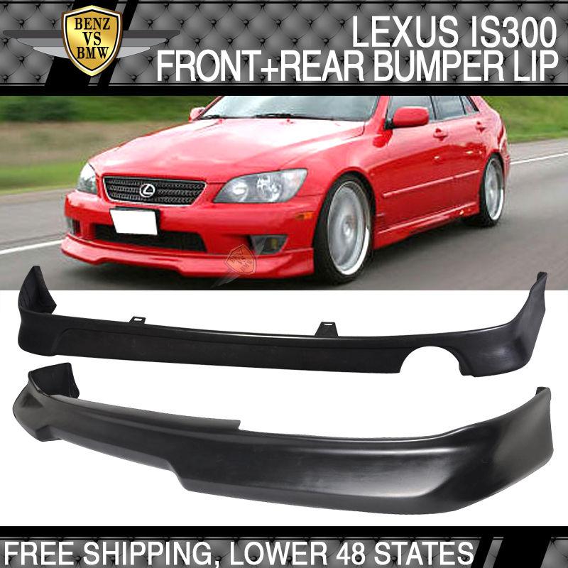 USパーツ 01-05レクサスIS300 Gスタイルウレタンフロントバンパーリップスポイラー+リアリップディフューザー 01-05 Lexus IS300 G Style Urethane Front Bumper Lip Spoiler + Rear Lip Diffuser