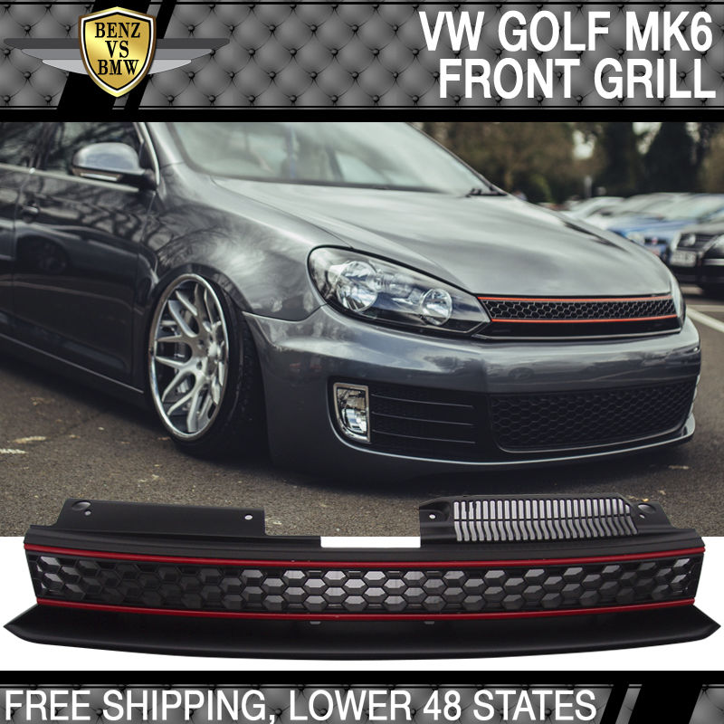 USパーツ 10-14 VWゴルフ6 MK6 GTIスタイルフロントハイバーブラックレッドメッシュグリル - ABS 10-14 VW Golf 6 MK6 GTI Style Front High Bar Black Red Mesh Grille - ABS