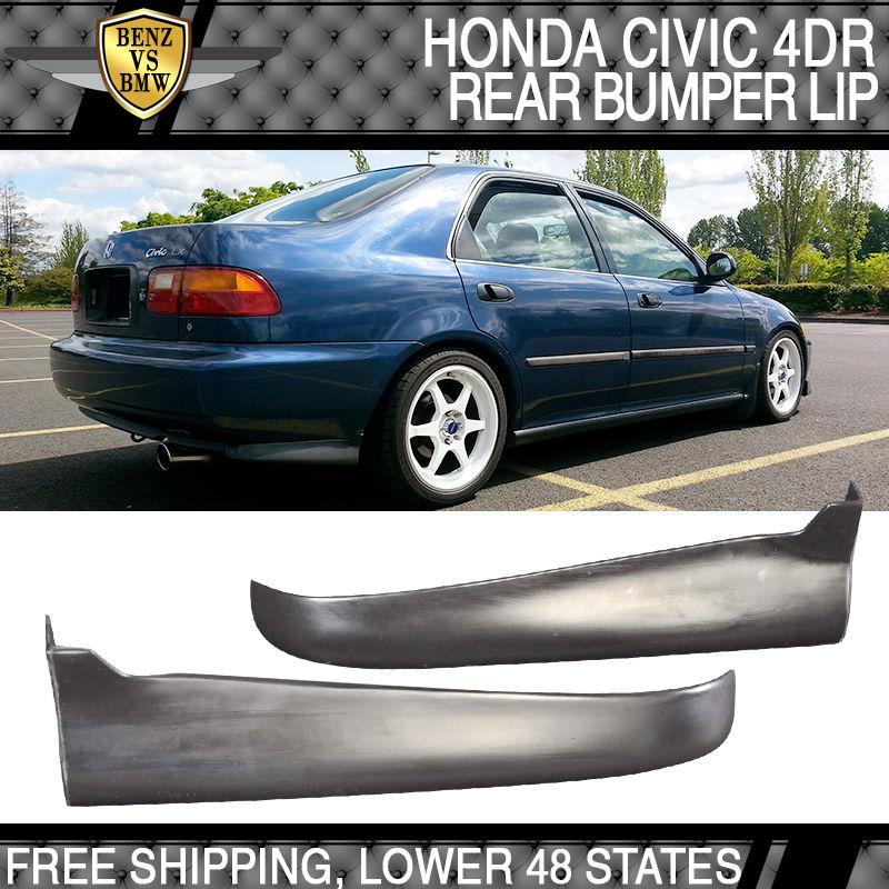 USパーツ ホンダシビック1992-1995 2 4Dr PU 2PCバランススパッツリアバンパーリップスポイラー Honda Civic 1992-1995 2 4Dr PU 2PC Valance Spats Rear Bumper Lip Spoiler
